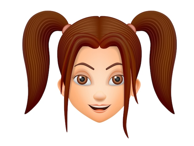 The face cheerful brunette young girl with pigtails