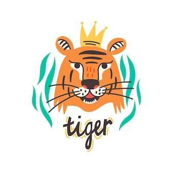 Face chinese tiger with crown lettering. wild predator king of beasts. animal vector illustration flat cartoon style