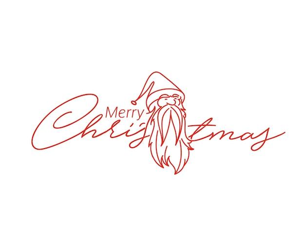 Face of christmas character santa claus, cartoon style santa claus design. merry christmas text - vector illustration