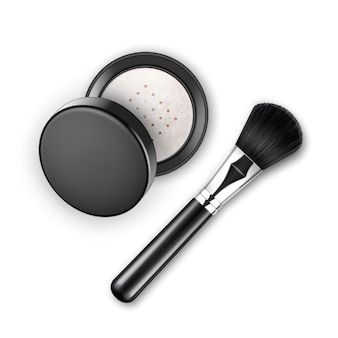 Face cosmetic make up powder in black round plastic case