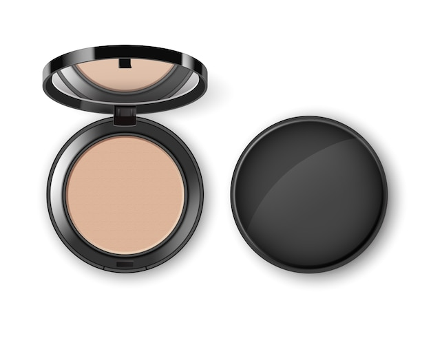 Face cosmetic makeup powder in black round plastic case with mirror top view isolated on white background