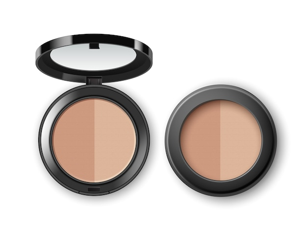 Face cosmetic makeup powder in black round plastic case with mirror top view isolated