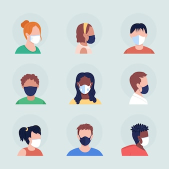 Face covering semi flat color vector character avatar with mask set. portrait with respirator from front and side view. isolated modern cartoon style illustration for graphic design and animation pack