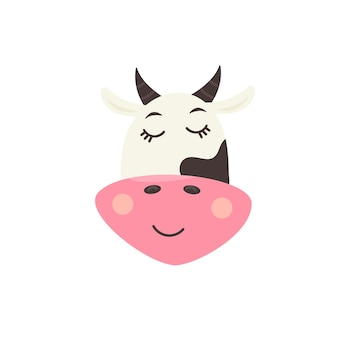Face cute sleeping cow