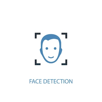 Концепция обнаружения лица 2 цветных значка. простой синий элемент иллюстрации. дизайн символа концепции распознавания лиц. может использоваться для веб- и мобильных ui / ux