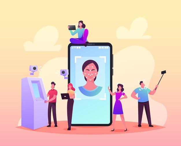 얼굴 감지, 얼굴 인식 기술 개념. 스마트폰에서 얼굴 id를 스캔하는 작은 문자. 검증 시스템을 통한 개인 식별. 만화 사람들 벡터 일러스트 레이 션