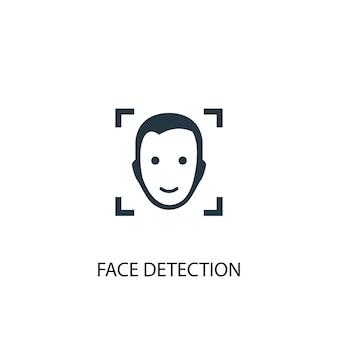 Значок обнаружения лица. простая иллюстрация элемента. дизайн символа концепции распознавания лиц. может использоваться в интернете и на мобильных устройствах.