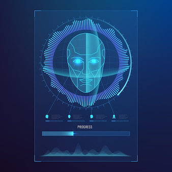 Face digital recognition, id faces biometric scanning to safe access abstract