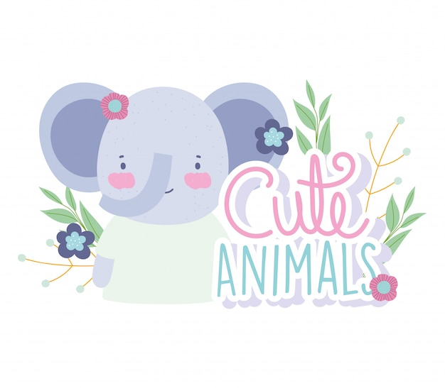 Face elephant flowers foliage cartoon cute animal characters nature
