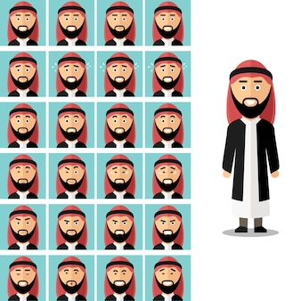 Face emotions of arab man. arabian muslim sad or angry, avatar expression feeling illustration. vector set in flat style