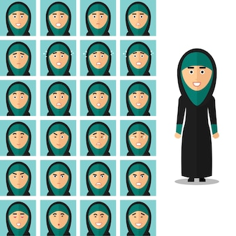 Face emotions of arab woman. portrait girl arabic, happy sad or angry. vector illustration set in flat style