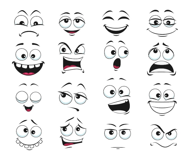 Face expression isolated, funny cartoon emoji satisfied, toothy and crazy, angry, laughing and sad. facial emoticon feelings upset, happy and sad, dissatisfied. cute face expressions set