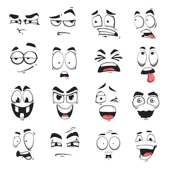 Face expression isolated vector icons, cartoon funny emoji suspicious, scared and shocked, grin, smirk or crazy