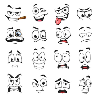 Face expression isolated vector icons, funny cartoon emoji smoking cigar, wink and sad, smiling, scared and wear monocle eyeglass with mustache