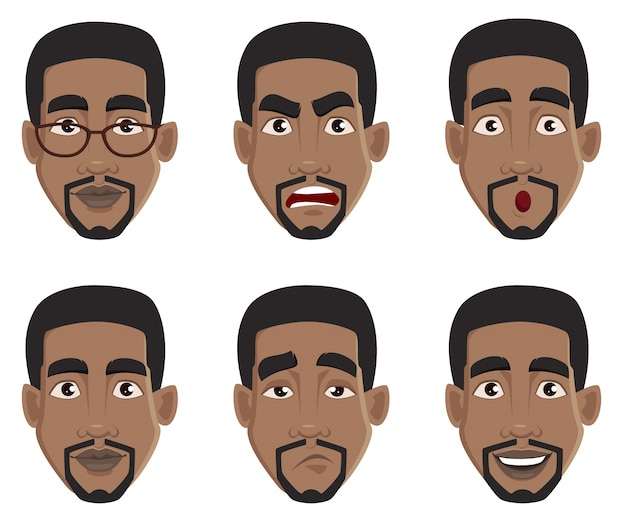 Face expressions of african american man