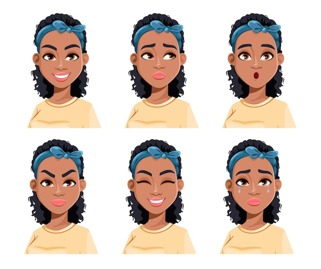 Face expressions of african american woman different female emotions beautiful cartoon character