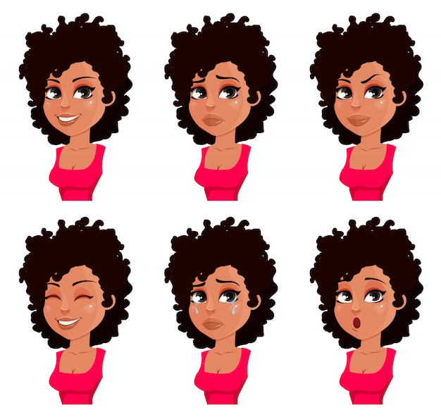 Face expressions of african american woman in red blouse