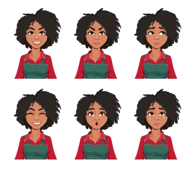 Face expressions of beautiful african american woman gardener