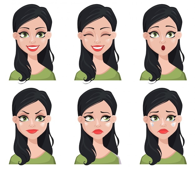 Face expressions of beautiful brunette woman in green blouse