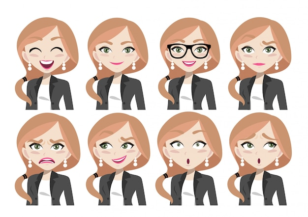 Face expressions of beautiful businesswoman