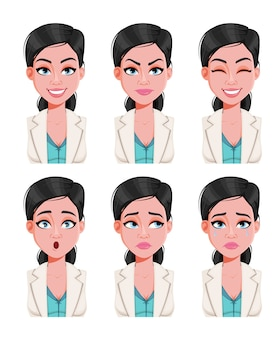Face expressions of beautiful doctor woman