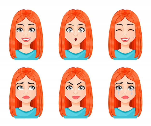 Face expressions of beautiful redhead woman