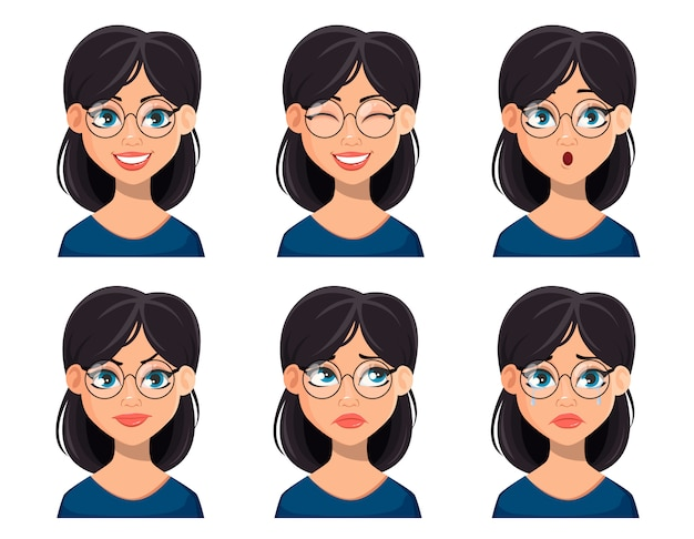 Face expressions of beautiful woman in glasses