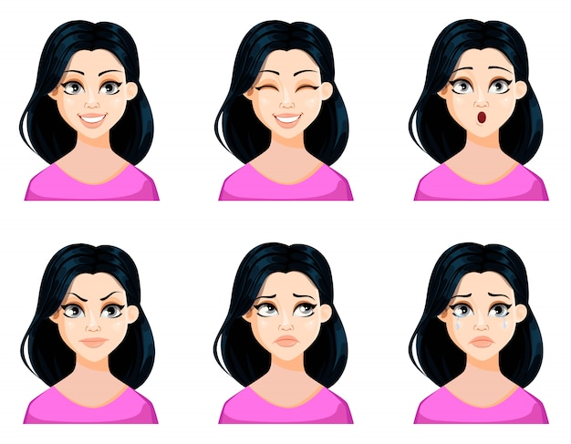 Face expressions of beautiful woman with dark hair