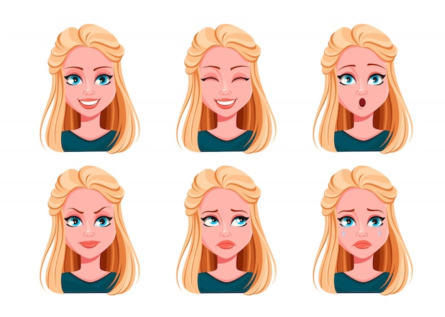 Face expressions of beautiful woman