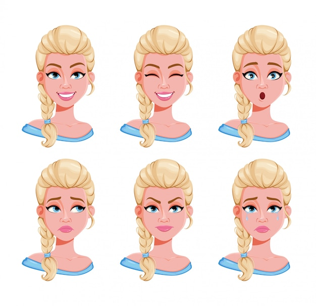 Face expressions of blonde woman, set