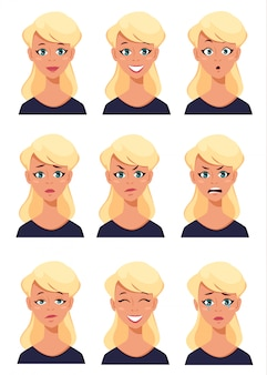 Face expressions of a blonde woman