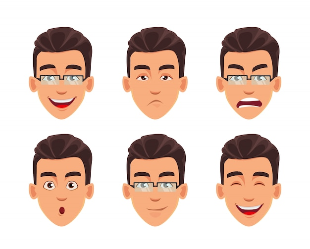 Face expressions of business man