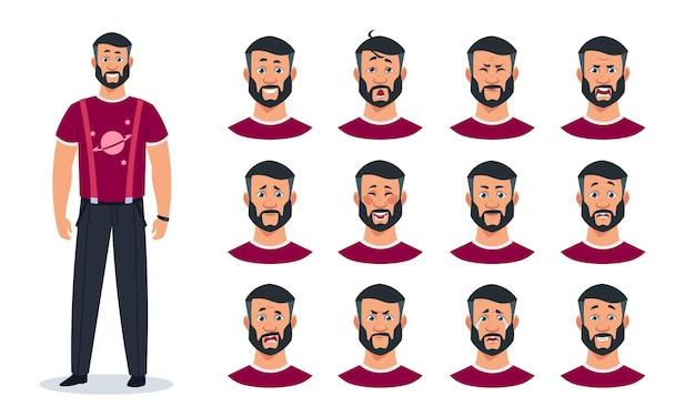 Выражения лица. персонаж из мультфильма человек с множеством различных эмоций, злой, боль, грустный, счастливый, удивленный парень. конструктор, выражающий вектор