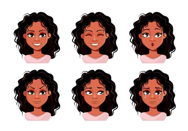 Face expressions of cute lady