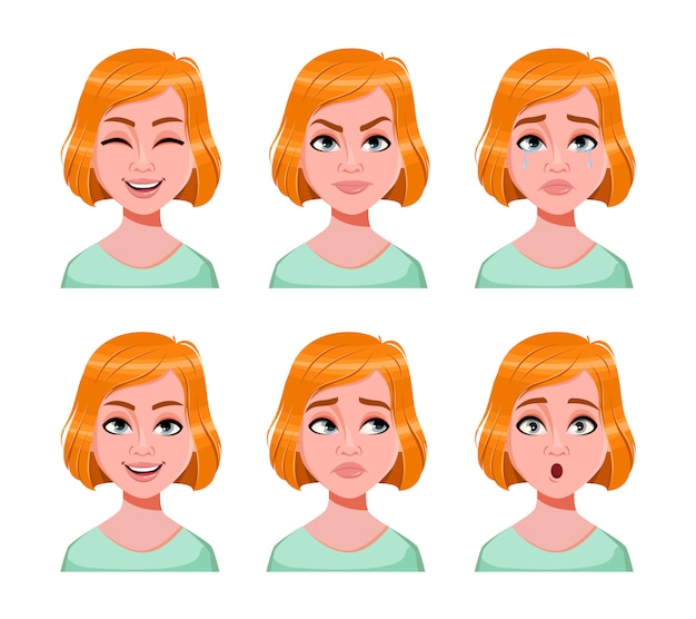 Face expressions of cute redhead woman
