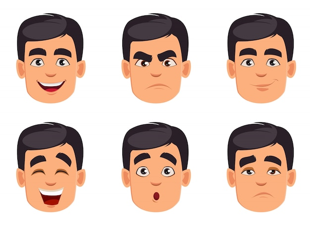Face expressions. different male emotions set