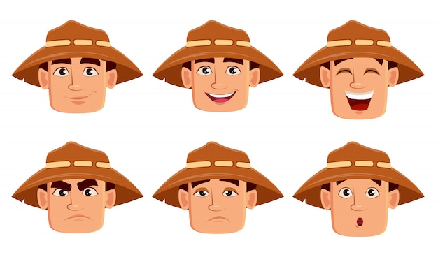 Face expressions of farmer in hat
