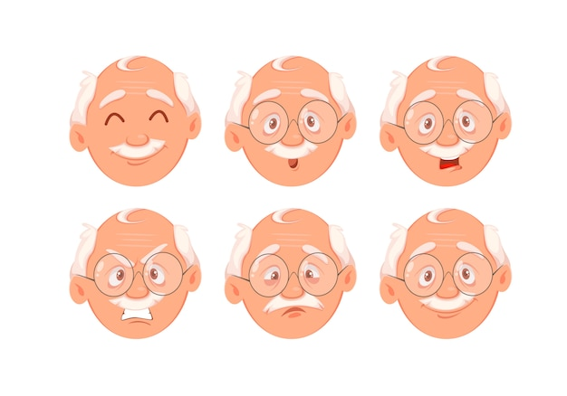 Face expressions of grandfather