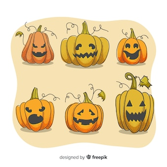 Face expressions on halloween pumpkin collection