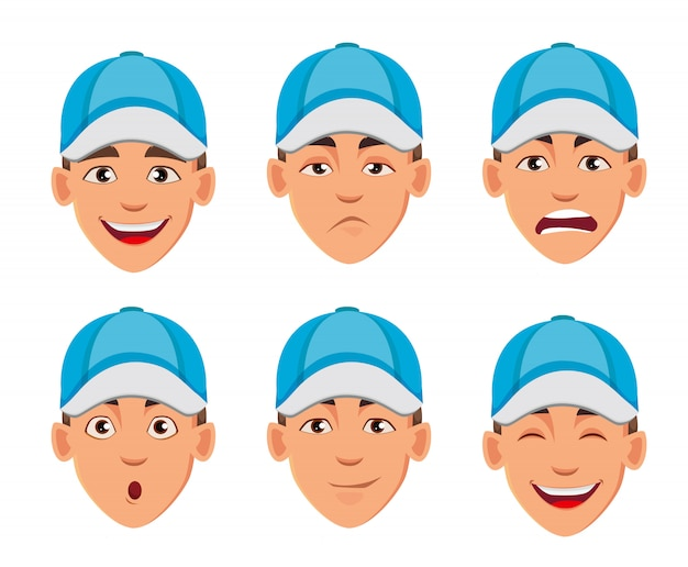 Face expressions of man in blue cap