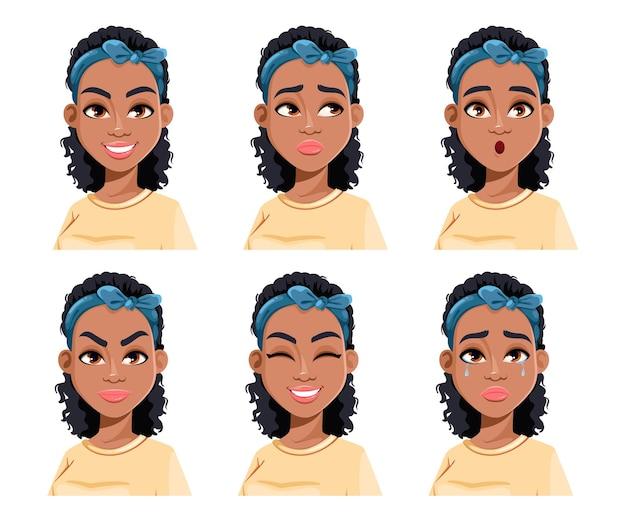 아프리카 계 미국인 여자의 얼굴 표정 다른 여성 감정 아름다운 만화 캐릭터