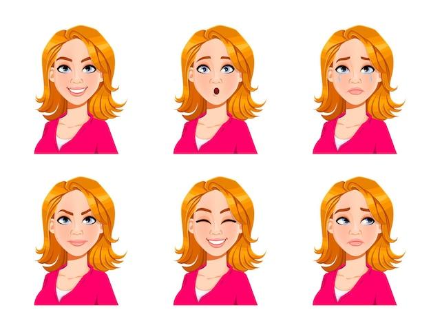 Выражения лица белокурой женщины. набор из шести различных женских эмоций. красивый мультипликационный персонаж. векторные иллюстрации, изолированные на белом фоне.