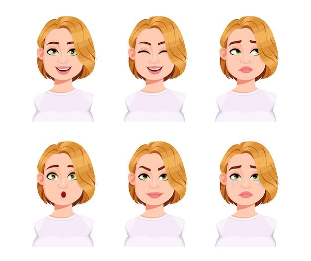귀여운 플러스 사이즈 여성의 얼굴 표정