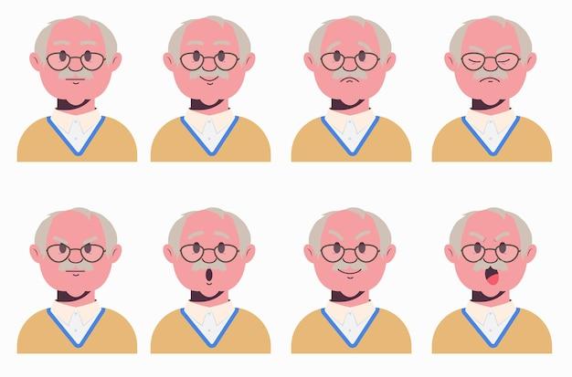 Выражения лица деда. набор старых мужских эмоциональных персонажей. аватары.