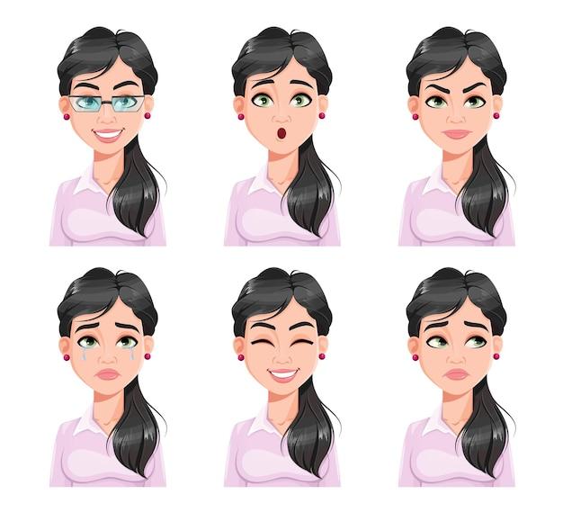 예쁜 여자의 얼굴 표정. 다른 여성 감정을 설정합니다.