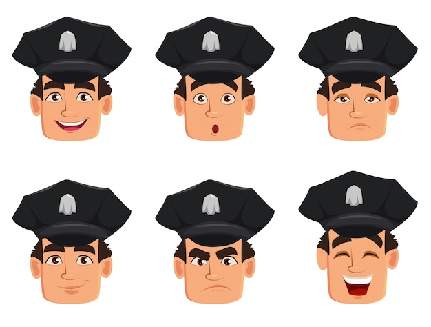 Face expressions of police officer, policeman