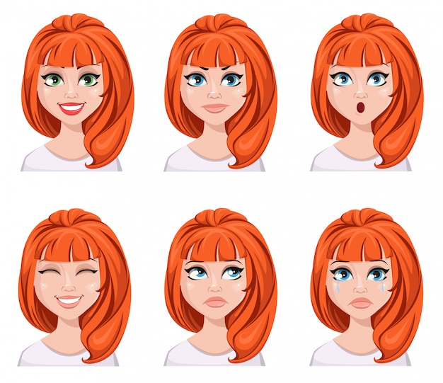 Face expressions of a redhead woman