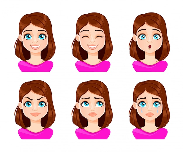 Face expressions of woman in purple blouse