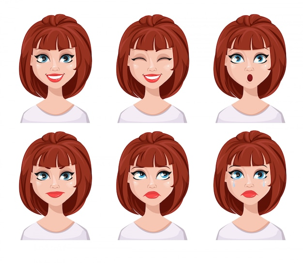Face expressions of woman with brown hair