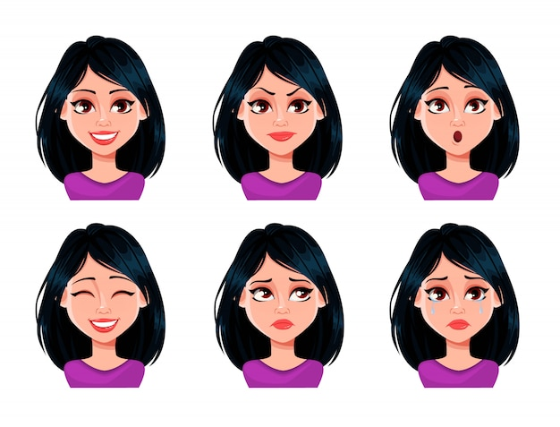 Face expressions of woman with dark hair